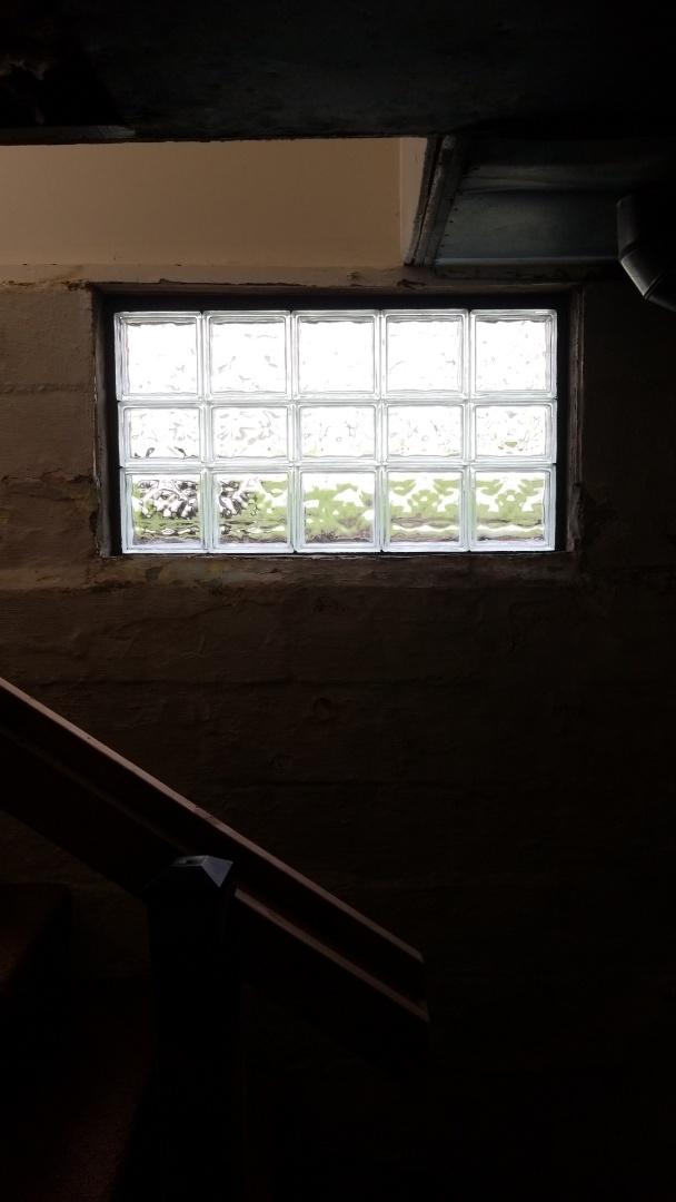 Grand Rapids, MI - Installation of glass block window in basement