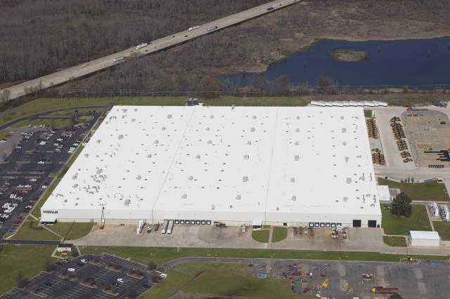 North Little Rock, AR - Harold Hall Roofing, Inc  just completed a (new) Duro-Last roof system on the 720,000 SF Caterpillar facility in North Little Rock, AR.