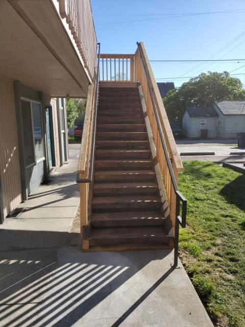 Medford, OR - Our construction crew finished this wonderfully done pressure treated stairway for another satisfied customer. The previous stairway needed to be replaced due to wood rot and safety concerns.