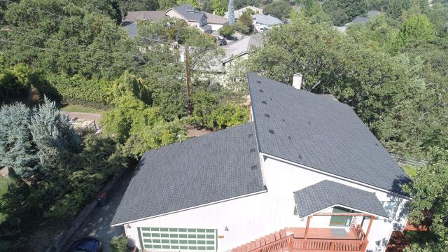 Medford, OR - Just finished this roof by installing the GAF Timberline HDZ shingle in the Charcoal color. This roof will also have a GAF Golden Pledge warranty registered to give the customer lasting roof protection and comfort.