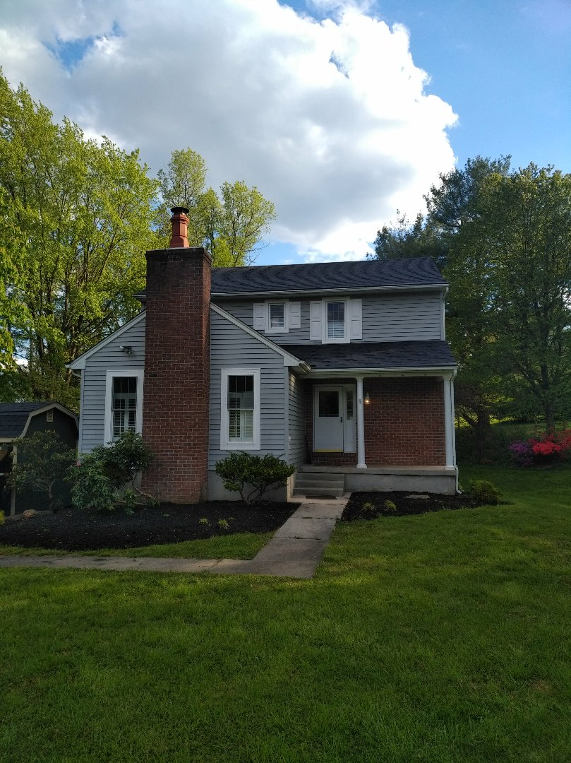 Fallston, MD - Beautiful new roof using CertainTeed landmark shingles in color charcoal. Congrats on the new house Ben and Lindsay!