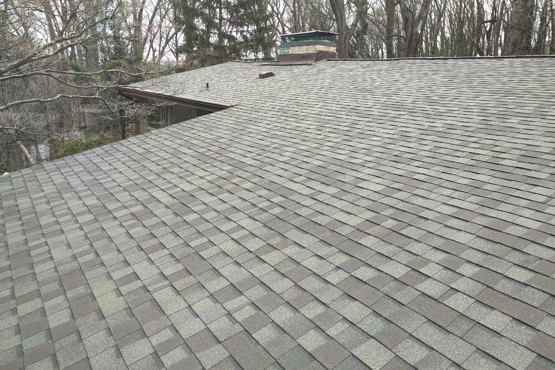 Towson, MD - Just replaced this roof with beautiful new CertainTeed landmark weathered wood shingles.