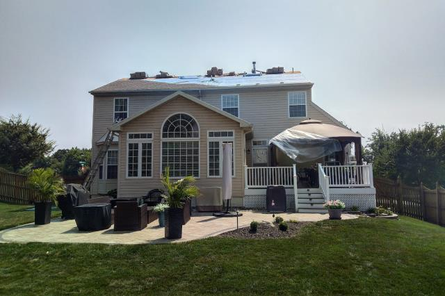 Forest Hill, MD - Finishing touches in this roof installation. Call us for new roof installation, roof repair, or anything in-between!