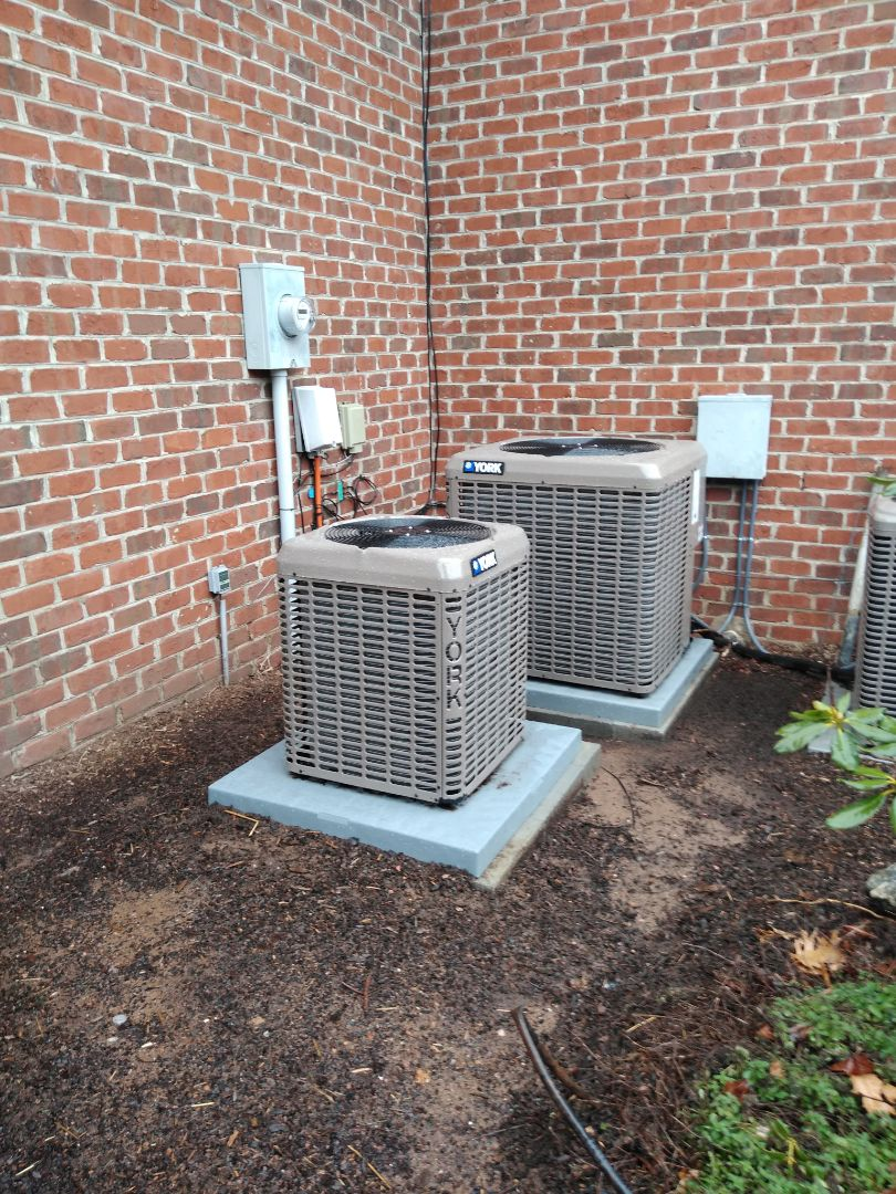 Hickory, NC - Installation of 2 new York air conditioning units in Hickory.
