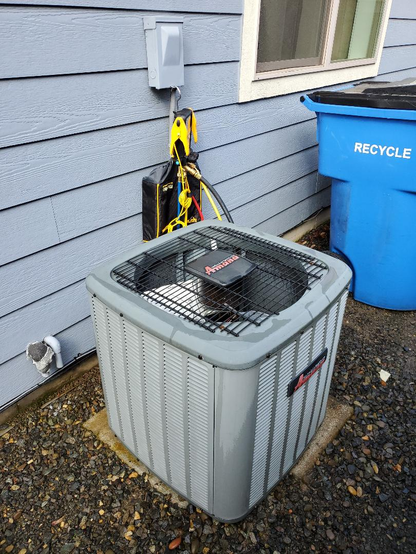 Ridgefield, WA - Performed a service and cleaning on an amana air conditioner.