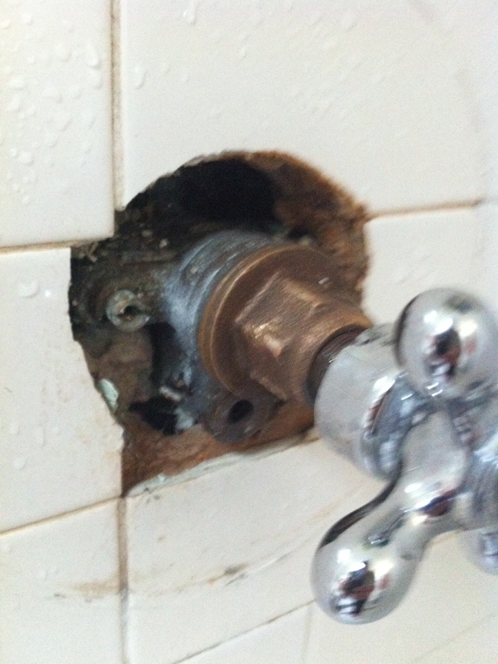 Glendora, CA - Plumber found customer has a old single handle leaking shower faucet and a Moen shower head in need of repair.  Plumbing service consists of shower valve and showerhead repair.