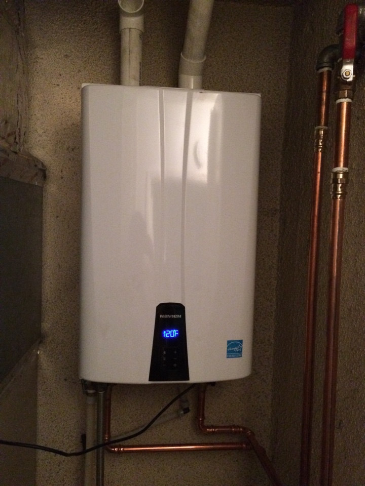 Hacienda Heights, CA - Water heater service call. Plumbing Service Call. performed installation of a new Navian tankless water heater.