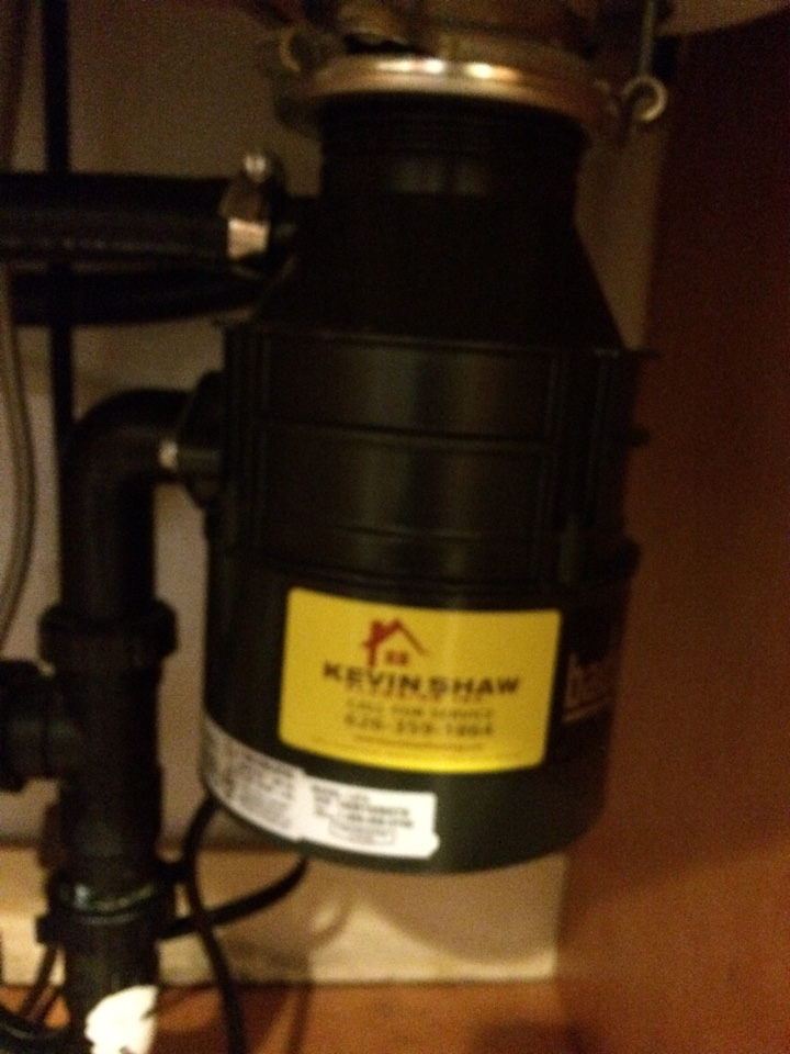 Diamond Bar, CA - Plumbing service call. Garbage disposer not working. Service provided install Insinkerator 1/3 hp garbage disposal and connect drain pipes and p trap