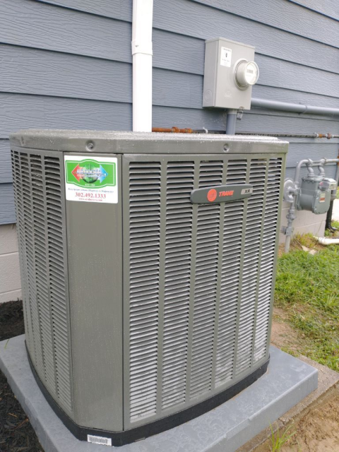 Dover, DE - Trane AC & Heating System Replacement Installation performed by Eric, Dan, Ken, and Chris.