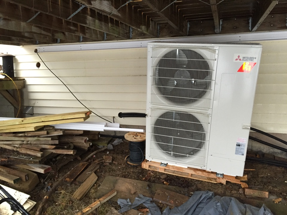 Brackney, PA - Installing Mitsubishi Ductless Hyperheat Multizone units.