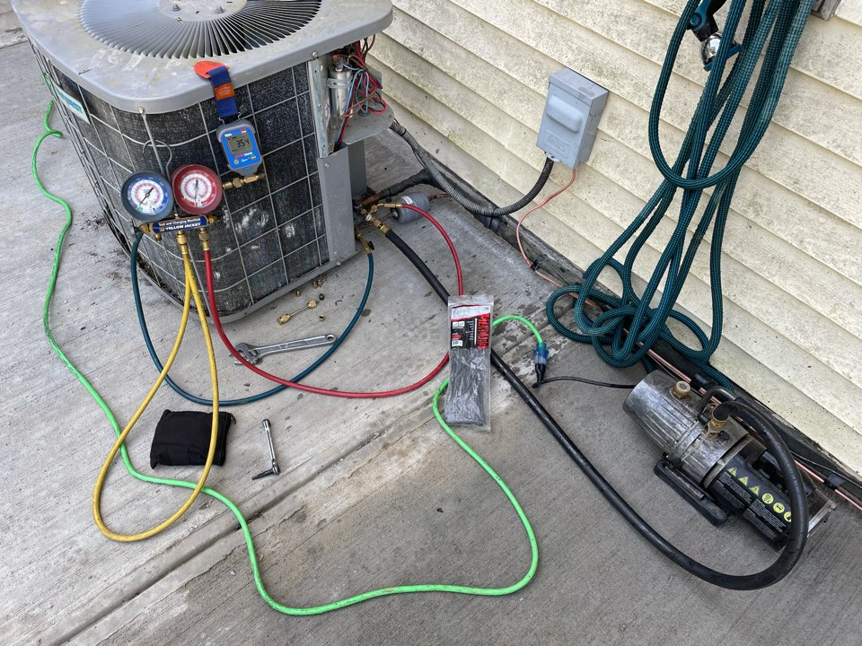 Apalachin, NY - Reconnect Outdoors AC unit after having concrete laid for patio