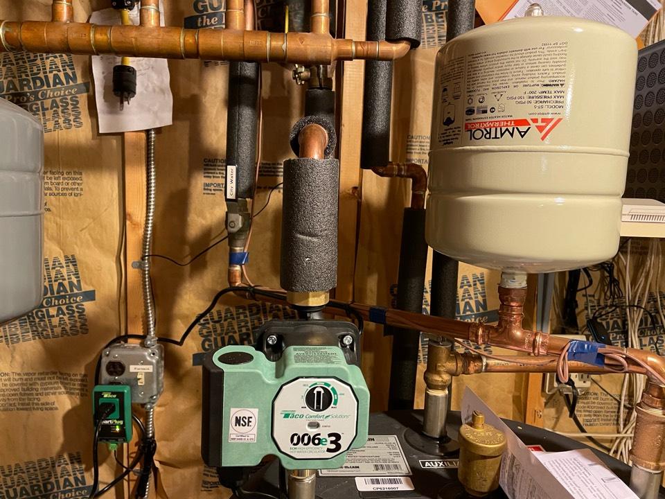 Apalachin, NY - Taco hot water recirculation pump installation. Amtrol thermal expansion tank replacement