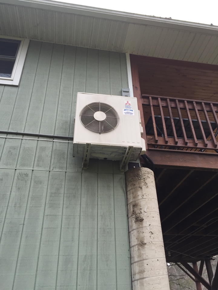 Meshoppen, PA - Performing annual preventive maintenance on a Mitsubishi ductless heat pump.