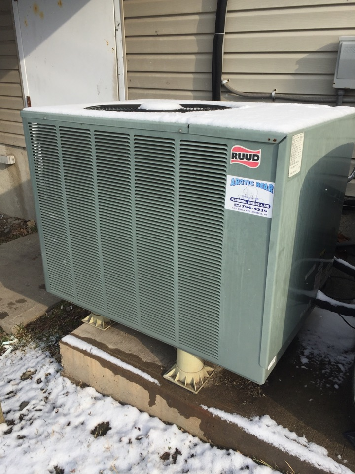 Laceyville, PA - Air filter replacement on a Ruud heat pump.