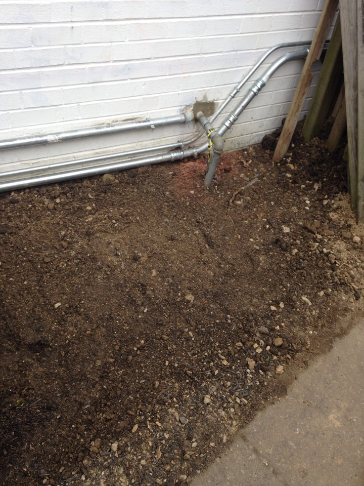 Abington, PA - Dig a trench from house to pool heater . Set plastic gas piping properly in trench. Install proper fitting to connect plastic pipe to rgid steel pipe. Lay tracer tape in trench above plastic pipe.back fill trench and grade out even.