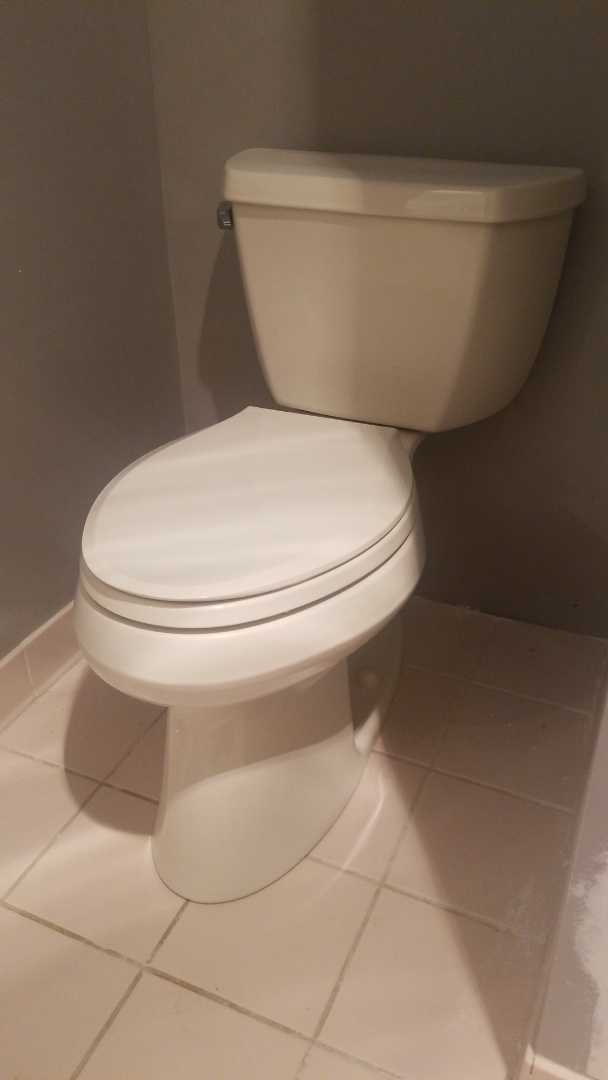 Kohler toilet install! Powerful, clean, and efficient! The Bold Look! In Waterford!