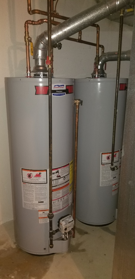 Installation of 2 new 50 gallon side by side  American water heaters in Rochester Hills!