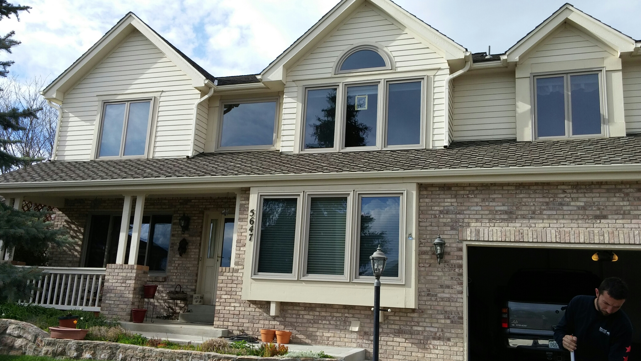 "Centennial, CO - Replaced original wood windows with Renewal By Andersen Fibrex and wood interiors along with. Narroline gliding patio door. ""They came out amazing! I love them!"""