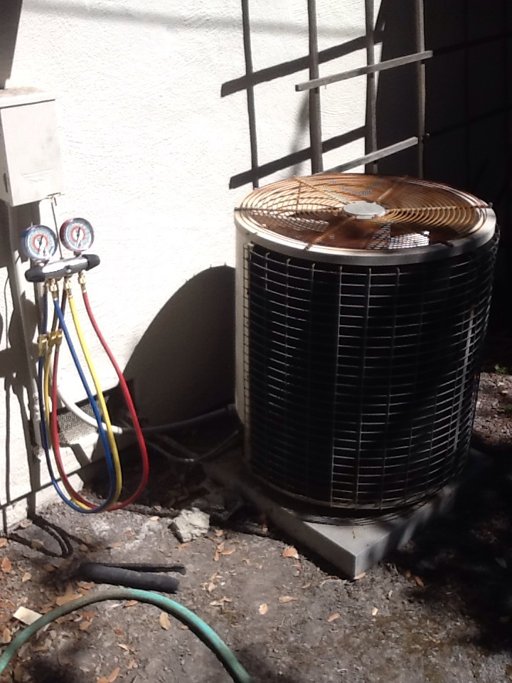 Palo Alto, CA - Fuse in furnace blowing when air conditioner is turned on, found shorted control wire at condenser. Cut out shorted section, tested AC. Everything ok at this time