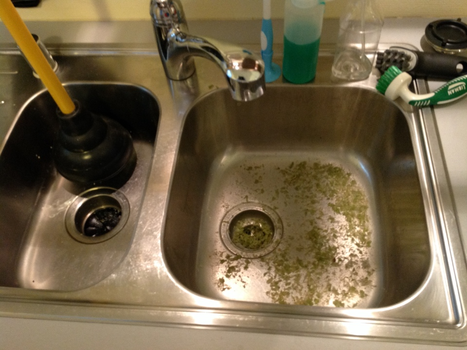 Menlo Park, CA - Kitchen sink stoppage. Plumber cleaned food leftover from back-up. Removed p-trap and cleaned. Ran snake through kitchen drain line to clear stoppage. Test dishwasher, garbage disposer, and kitchen drainage.
