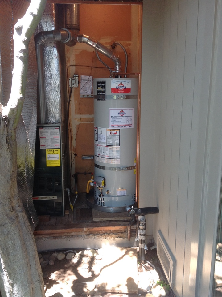 San Carlos, CA - Plumber replaced/installed new 50 gal water heater installed with drain pan with dipper drain pipe