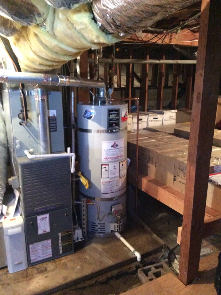 Belmont, CA - Plumber installed new Bradford White 50 gallon water heater with new safety pan.