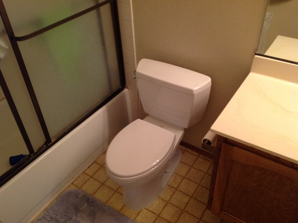San Jose, CA - Plumber installed new Toto two piece elongated white toilet with soft close toilet seat, wax ring, and no burst supply line. Install new flappers to two other toilet. Adjust water pressure to home.