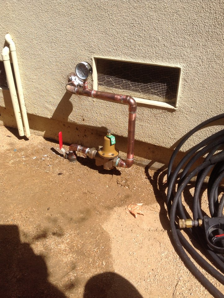 "Menlo Park, CA - Plumber replaced/installed new 1"" water pressure regulator with pressure gauge"