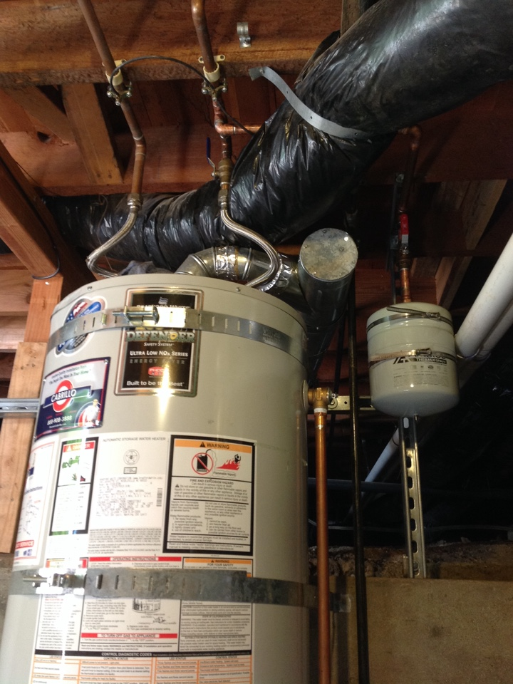 "Burlingame, CA - Plumber installed new 2 gallon expansion tank and 3/4"" ball valve along side of water heater."