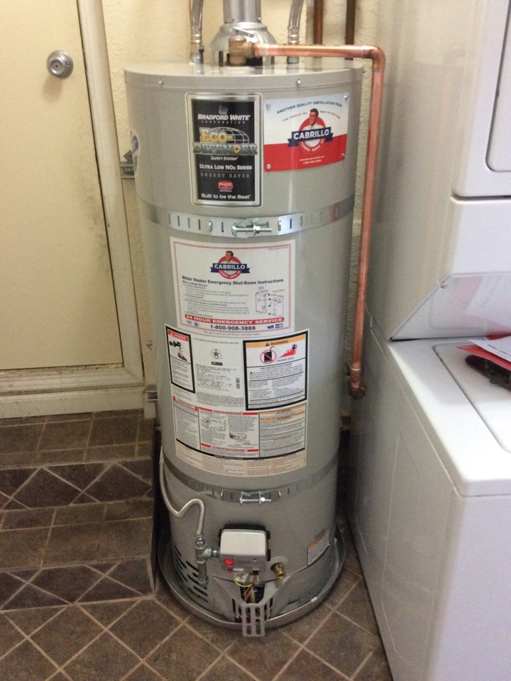 Menlo Park, CA - Plumber installed Bradford White 40 gallon water heater and make up air vent.
