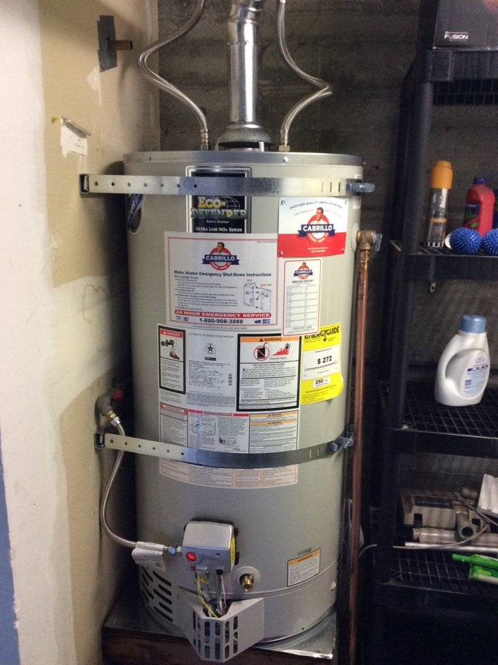 Plumber replaced 50 gallon gas water heater