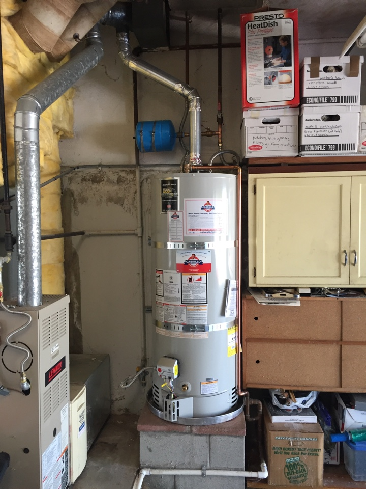 Plumber installed new 50 gallon water heater with a new pressure reducing valve on the water main with an expansion tank