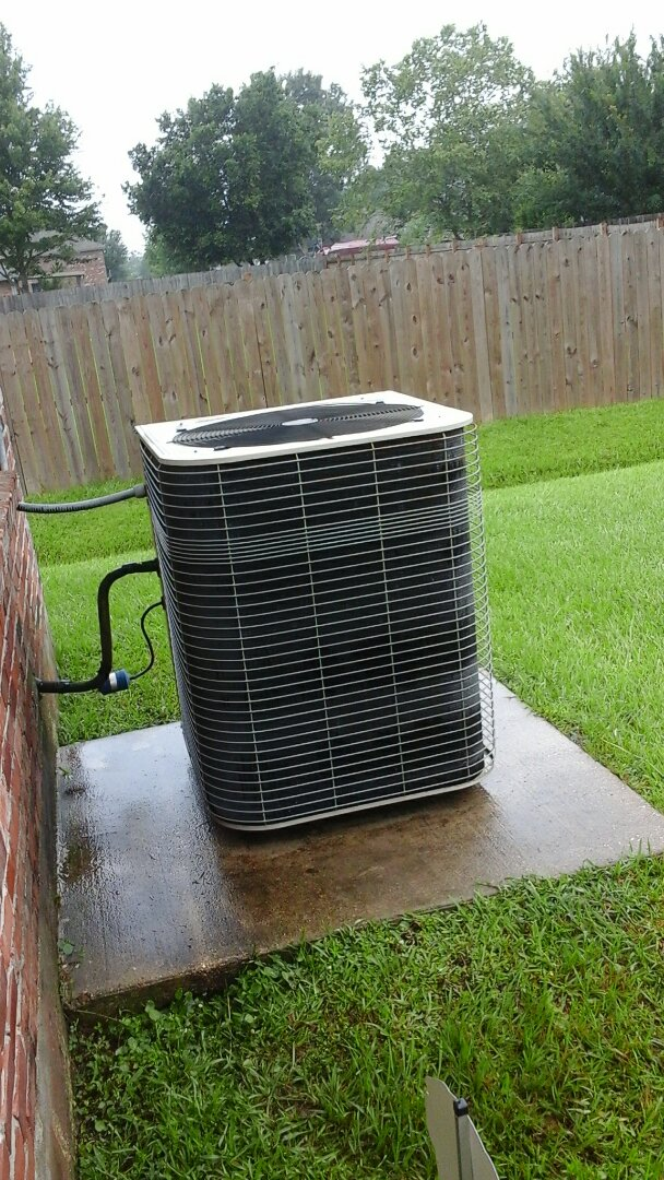 Denham Springs, LA - Air conditioning service Denham Springs on Lennox outside AC condensers, preformed Spring Summer maintenance, tune up, inspection and cleaning for proper cooling, also inspected carbon monoxide detector for proper operation and duct work for any problems. Made needed repairs. All unit components now working properly at this time.