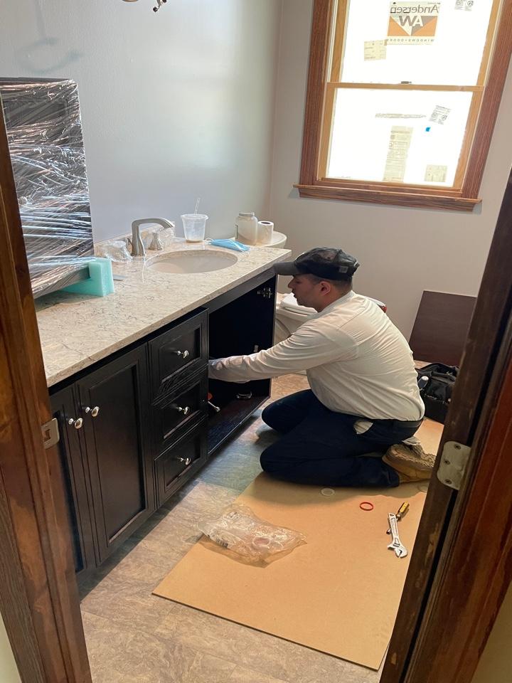 Install new toilet snd vanity.