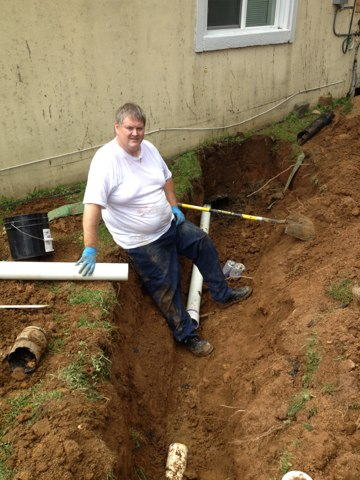 Repair broken sewer line to septic tank.