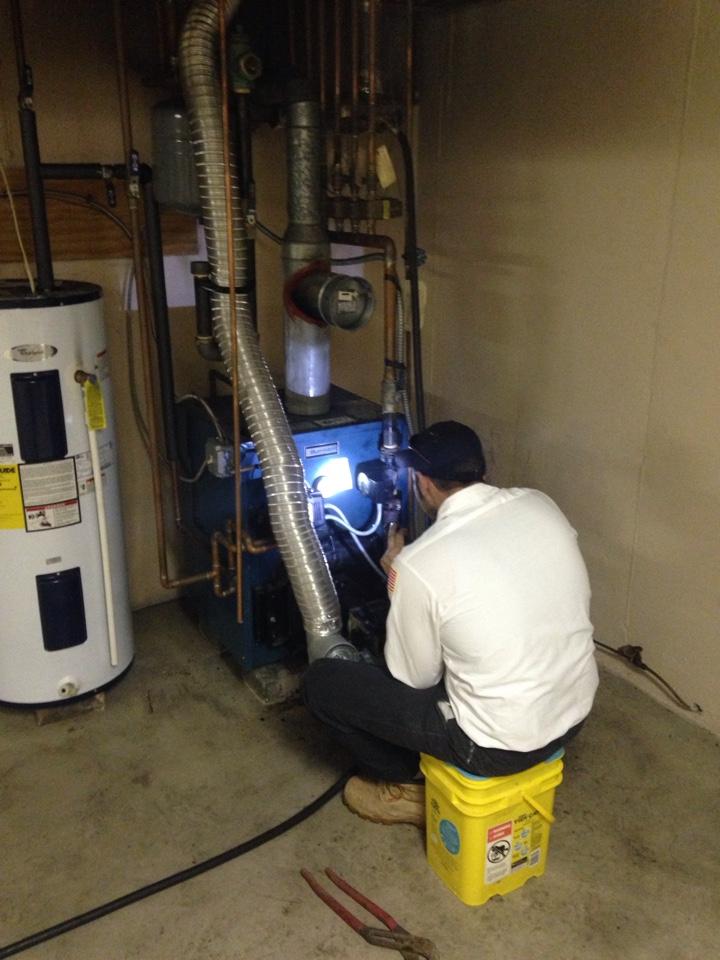 Repair broken oil boiler