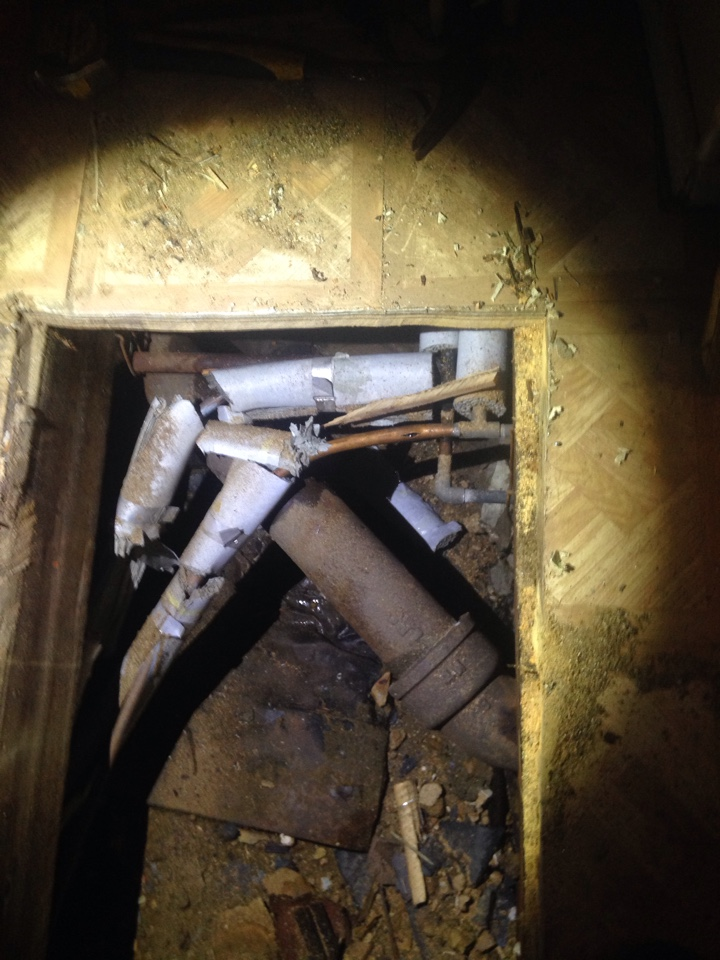 Today we had to cut out and repair a frozen pipe in a crawl space. Had to cut a hole in the floor to get access.