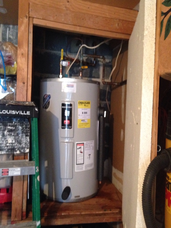 Install new 40 gallon low boy electric water heater.