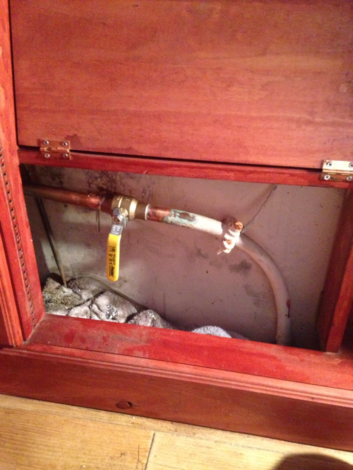 Install new emergency shut off valve to house.