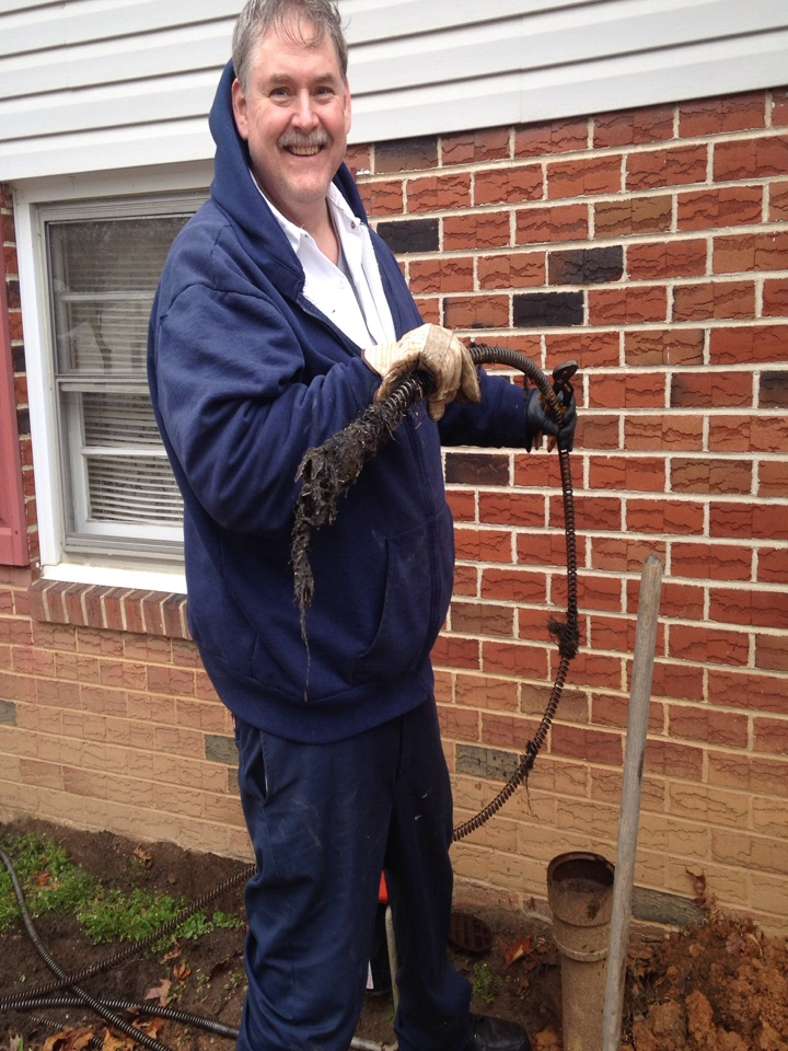 Unclog building sewer with electric snake. Pulled back tree roots.