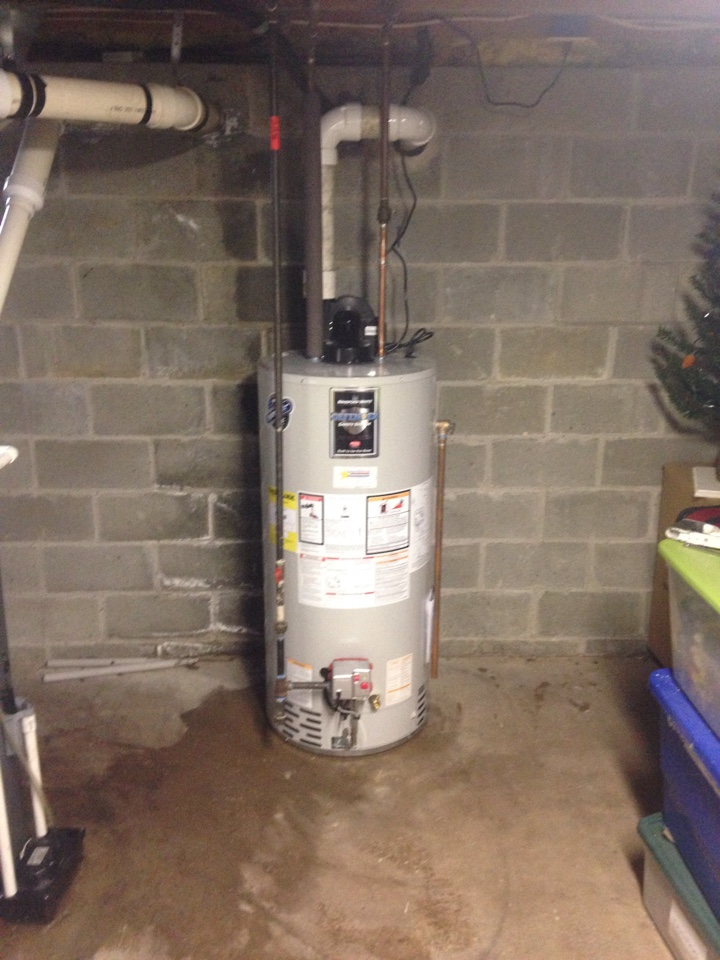 Install new 50 gallon power vent water heater