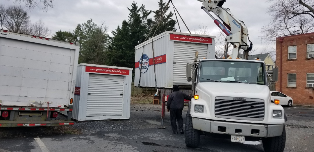 Kensington, MD - Prevention Of Blindness needed to have 2 different sizes of storage containers. A 12 foot and a 16 foot were provided by American Potable Storage so they could renovate a permanent storage solution. They requested the units be off set.