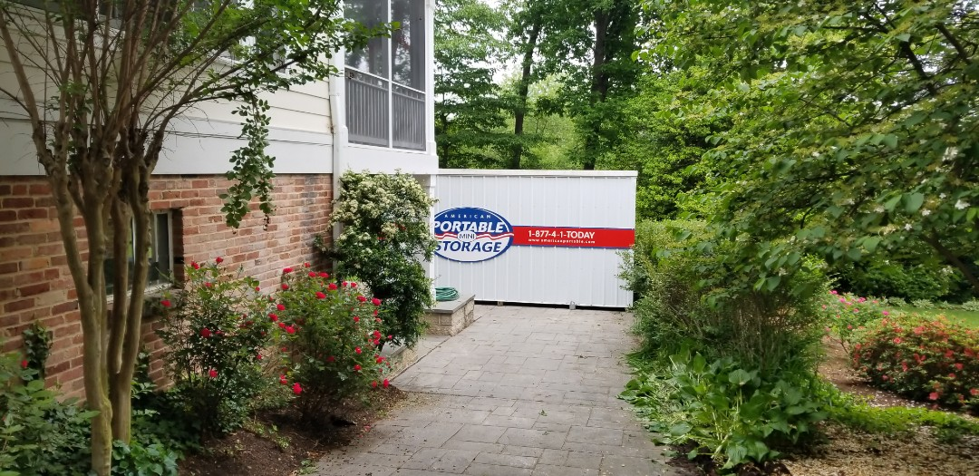 Bethesda, MD - After 22 years in the house Griffith decided to redo the basement for his wife. They will need the storage unit for at least two months. Tight driveway but we were able to get the unit where they wanted it.