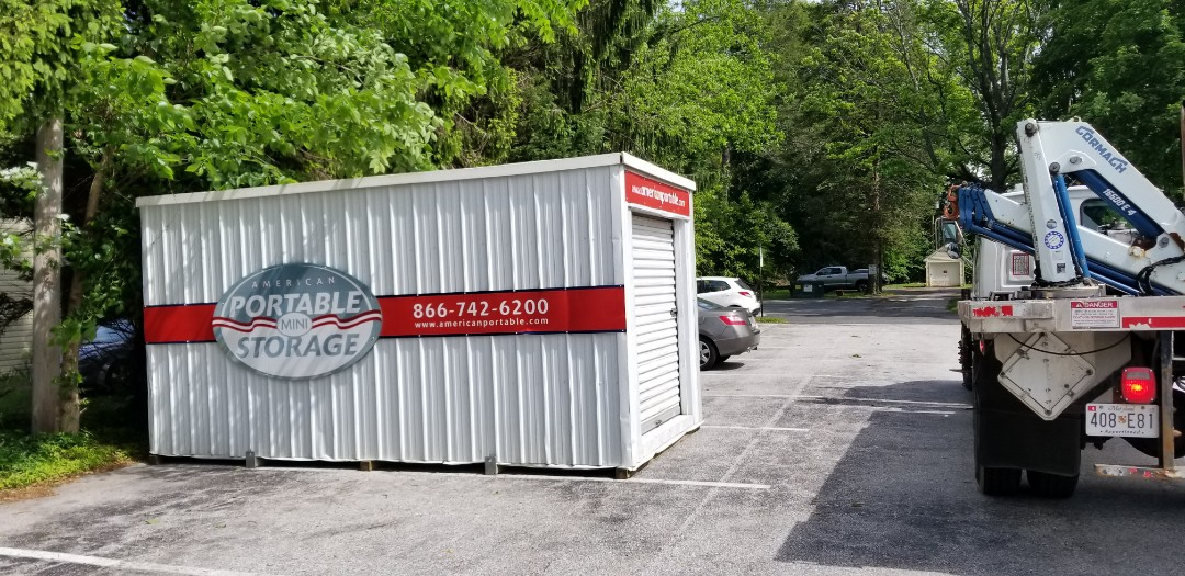 Columbia, MD - A church needs 3 units for summer storage. American Potable Storage provides every year for them. The first of three delivered.
