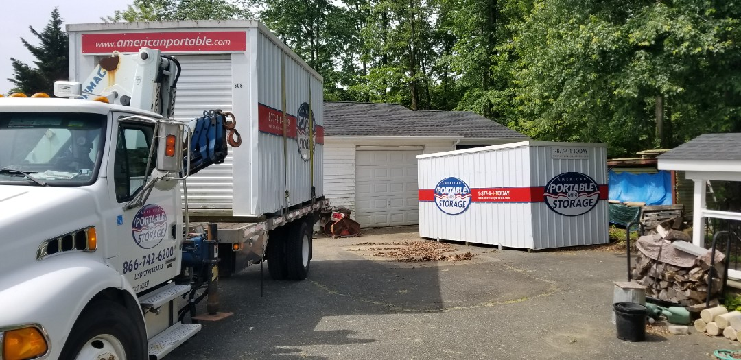 Jarrettsville, MD - After a six month rebuild of a garage that was crushed by a tree Meyers Construction asked American Potable Storage to provide two large storage units until the job was completed.
