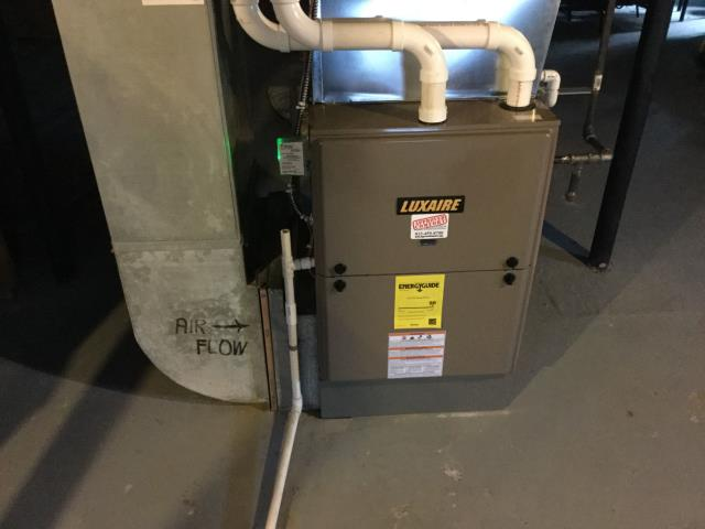 Village of Lakewood, IL - Quality inspection of a BRAND NEW Luxaire high efficiency furnace installation