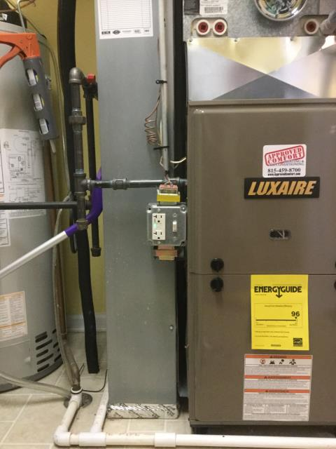 Huntley, IL - Quality inspection of Luxaire AC and furnace installation