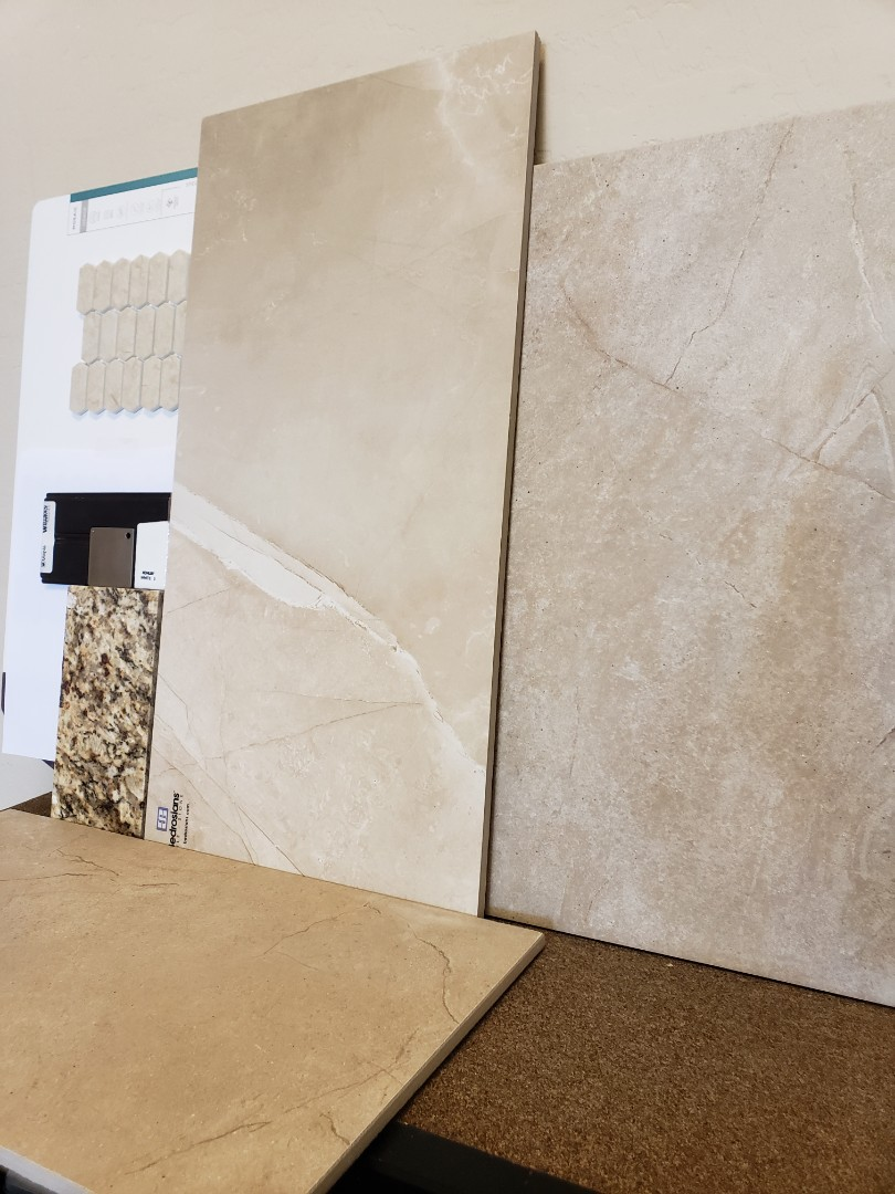 Glendale, AZ - Previous clients visited the showroom today to select their materials for their Hall Bath shower remodel.