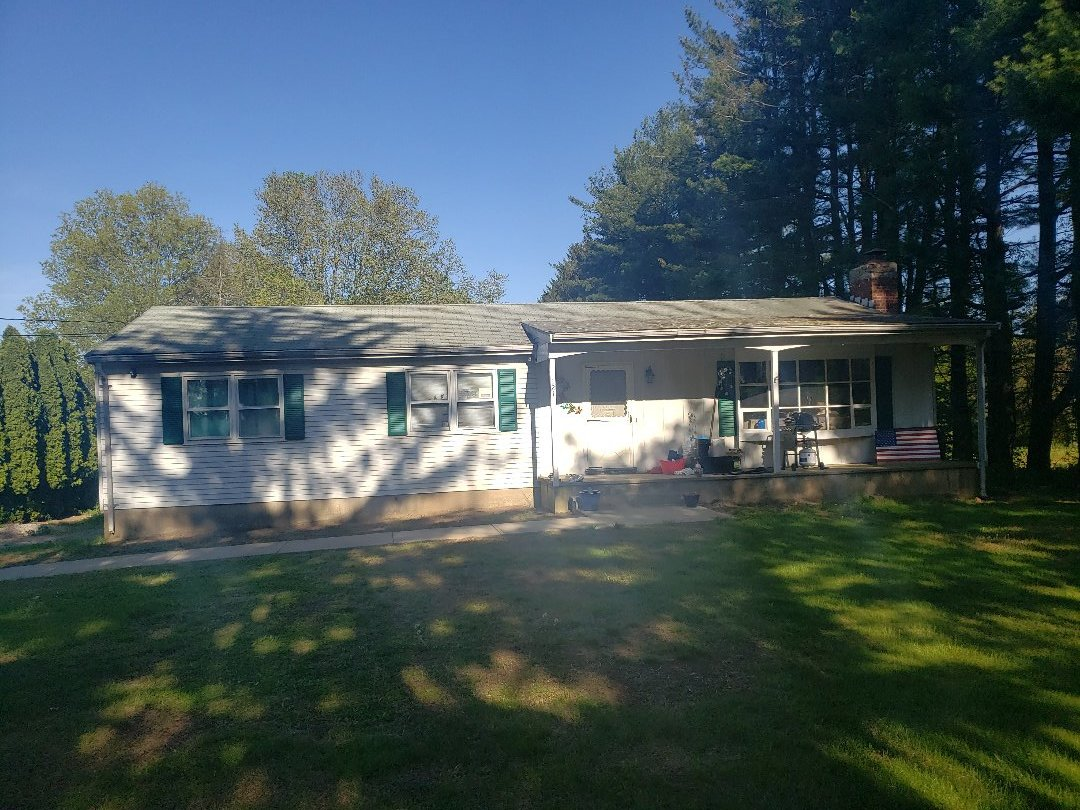 """Seymour, CT - Quoting a new GAF Timberline HDZ architectural roof system with ice and water, ridge vent, masonary repairs, lead chimney flashing and new seamless 5"""" gutters"""