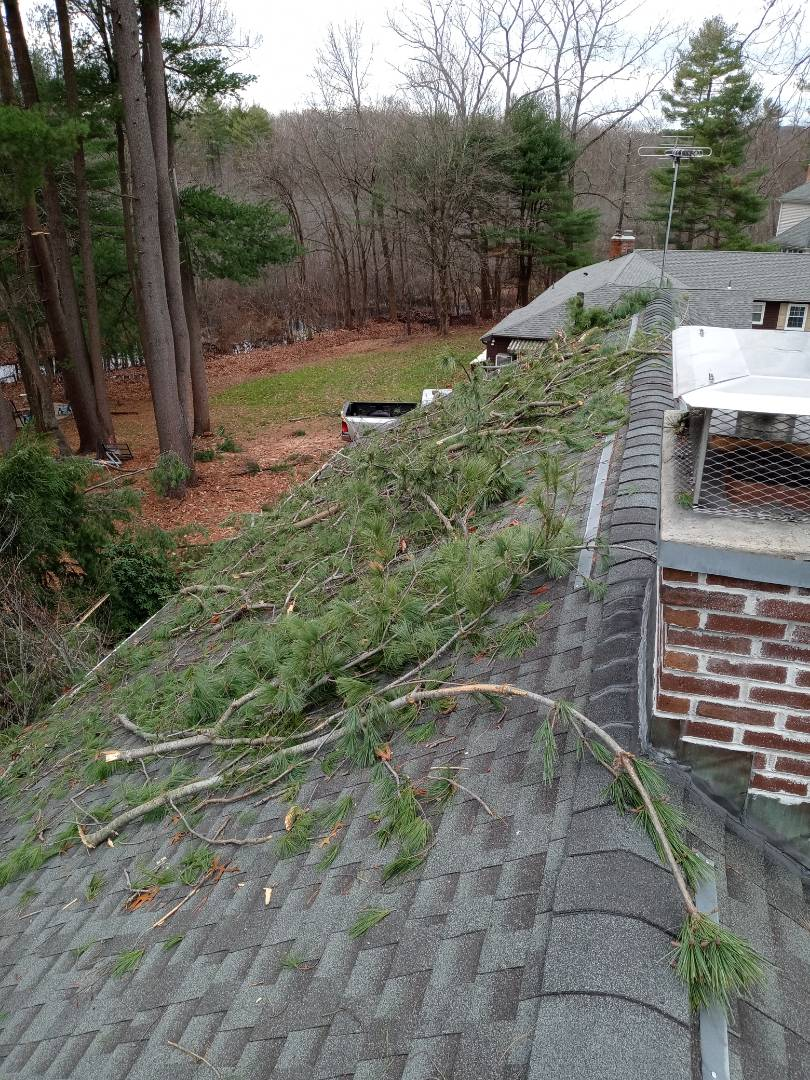 Plainville, CT - A recent storm cause damage to this customer's Roofing siding and gutter system we are working closely with their insurance company to restore this home!
